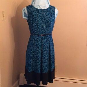 Blue & black print sleeveless Dana Buckman dress
